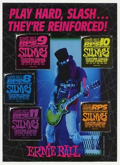Guns N&#8217; Roses Slash Ernie Ball Strings Photo (1993)