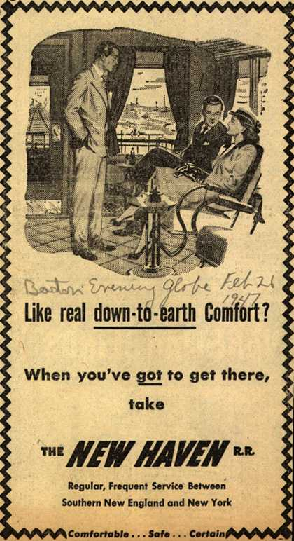 New Haven Railroad – Like real down-to-earth Comfort? (1947)