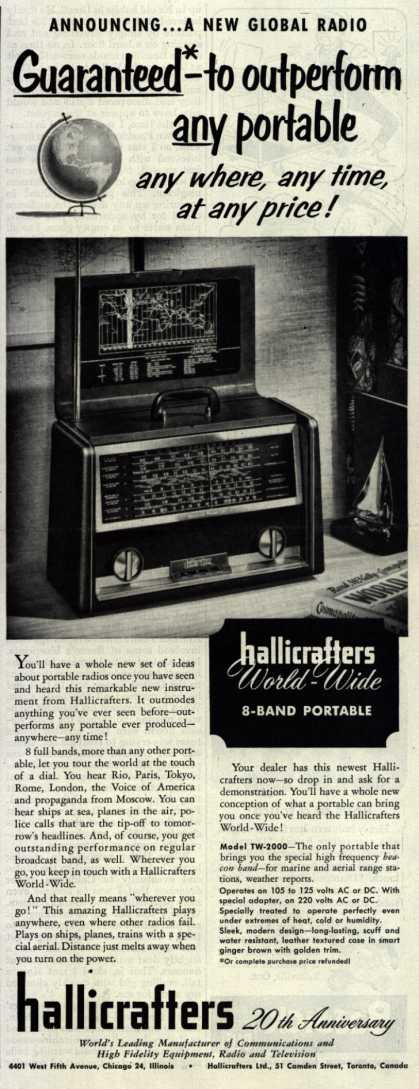 Hallicrafters Ltd.'s Hallicrafters World-Wide Portable – Announcing...A New Global Radio (1953)