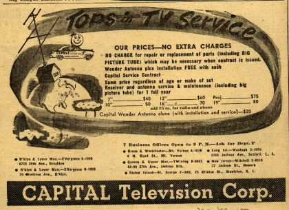 Capital Television Corp.'s TV repair – Tops in TV Service (1950)