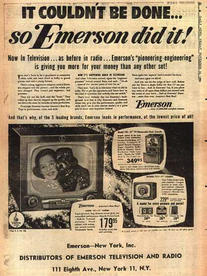 Emerson Radio and Phonograph Corporation's various – It Couldn't Be Done... so Emerson did it (1952)
