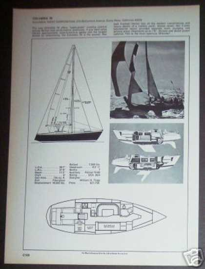 Columbia 39 Yacht Sailboat Boat Spec Ad Page (1971)
