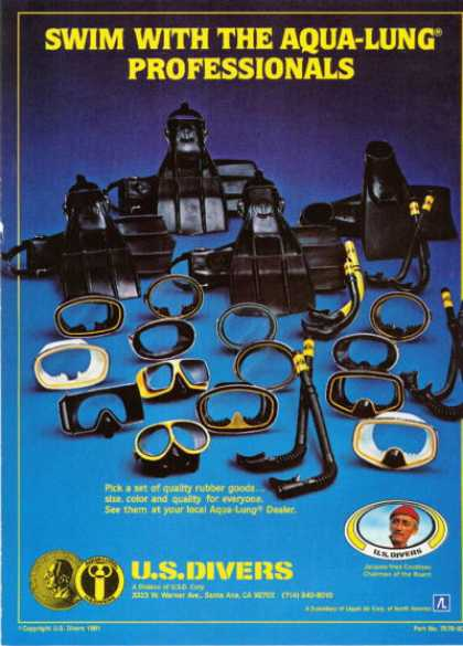 Us Divers Scuba Mask Snorkle Fins (1981)