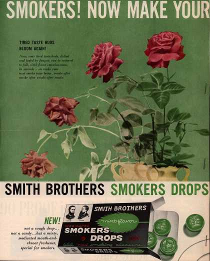 Smith Brother&#8217;s Smokers Drops &#8211; Smokers! Now Make Your Next Smoke Taste Better (1958)