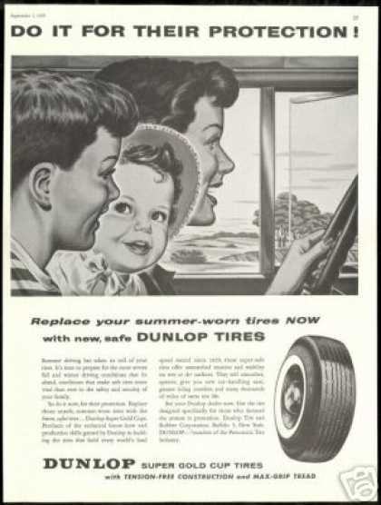 Mom Kids Vintage Art Dunlop Car Tires Vintage (1956)
