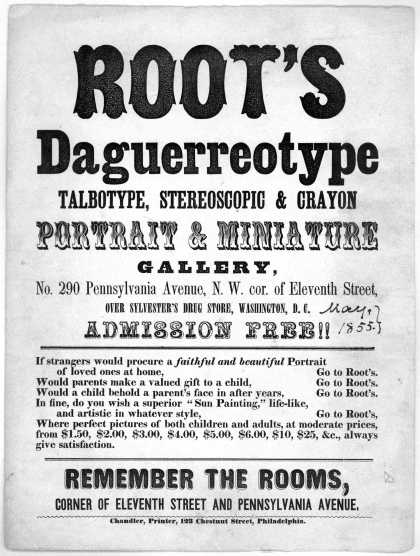 Root's daguerreotype talbotype, stereoscopic & crayon portrait & miniature gallery, No. 290 Pennsylvania Avenue N. W. cor. of Eleventh street, over Sy (1855)