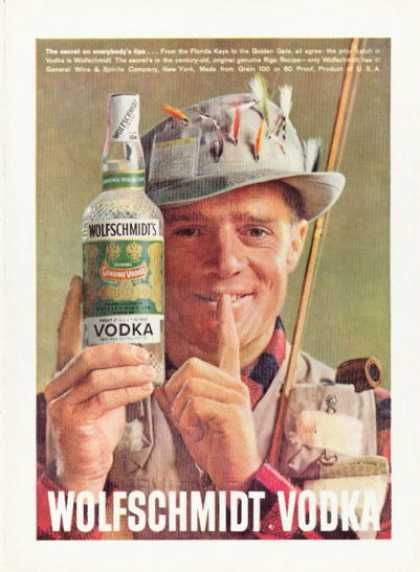 Wolfschmidt's Vodka Fly Fisherman Flies (1958)