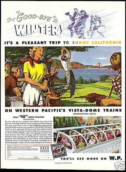 WP Western Pacific Vista Dome Train Railroad (1949)