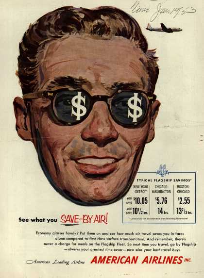 American Airline's Savings over railways – See what you SAVE-BY AIR (1953)