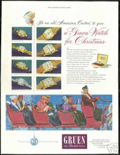 Gruen Asst Watch Print Christmas Sleigh (1949)