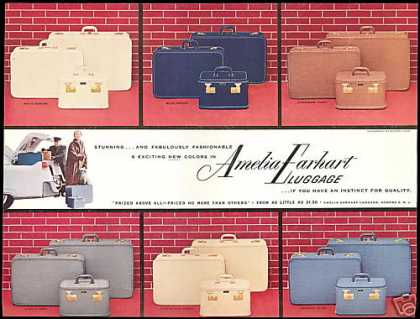 Amelia Earhart Colored Luggage Six Photo (1954)