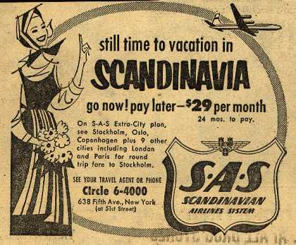 Scandinavian Airlines System's Scandinavia – Still Time to Vacation in Scandinavia (1954)