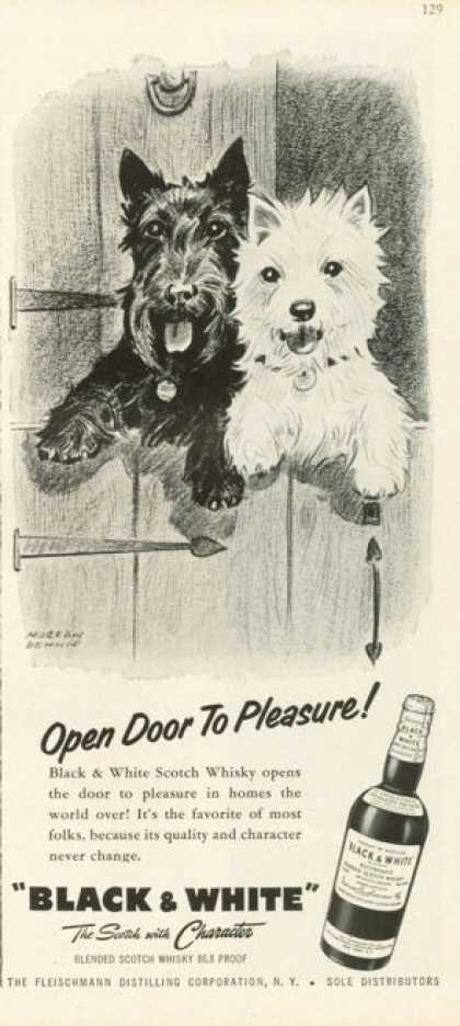 Black & White Scotch Ad Open Door To Pleasure (1958)
