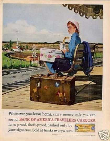 Bank of America Ad Girl Waiting for Train (1962)