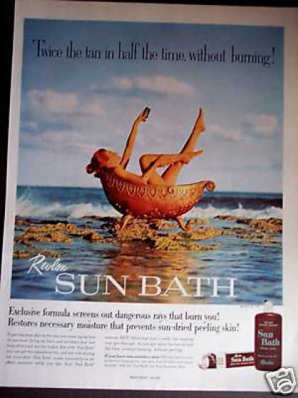 Woman In Gold Bathtub Revlon Sun Bath Photo (1960)