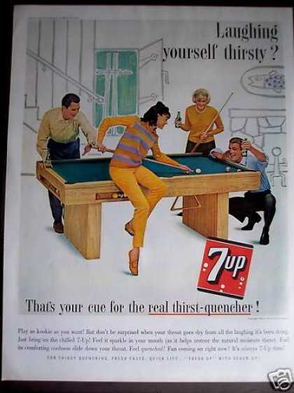7-up Soda Couples Playing Game of Pool (1963)
