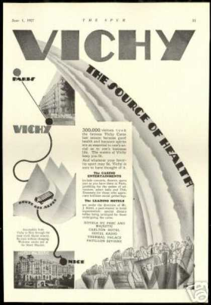 Vichy Water Health Paris Nice Hotels (1927)