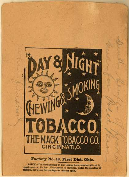 Mack Tobacco Co.'s Chewing & Smoking Tobacco – Day & Night