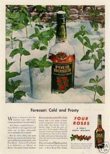 "Four Roses Whiskey Ad ""Forecast: Cold And... (1946)"