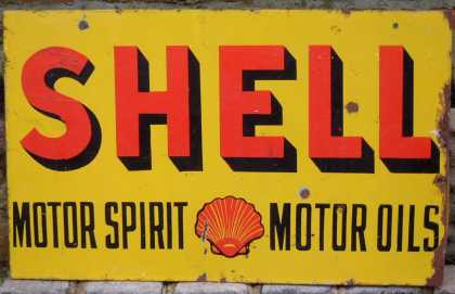 Shell Motor Spirit & Oils Sign