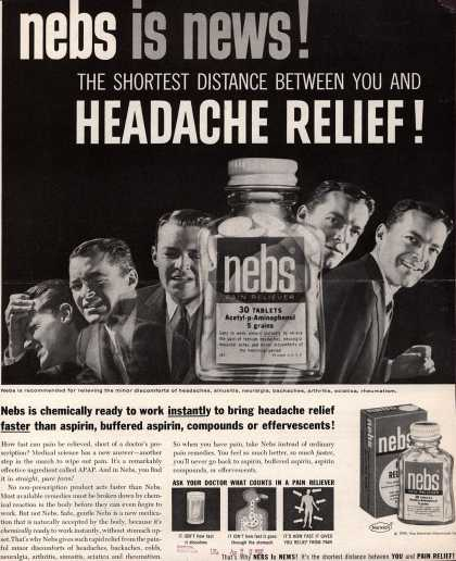 Norwich Pharmacal Co.'s Nebs – nebs is news! The Shortest Distance Between You And Headache Relief (1958)