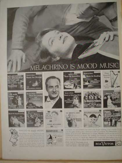 RCA Victor Records. Melachrino is mood music. Magoo is mad music (1957)