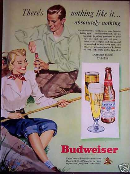 Couple Fishing Art By Forsberg Budweiser Beer (1949)