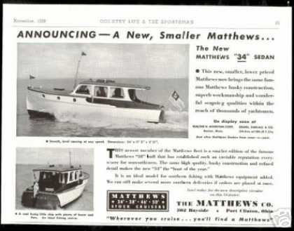 Matthews 34 Foot Sedan 2 Views Print Boat (1938)