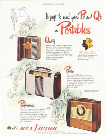 Rca Victor Portable Radio 3 Models (1949)