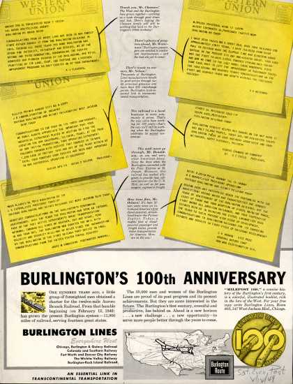 Burlington Lines – Burlington's 100th Anniversary (1949)