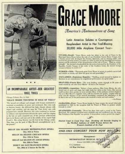 Grace Moore Photo Opera Booking (1942)