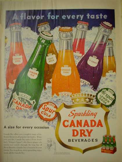 Sparkling Canada Dry Orange Grape Lemon Cola (1950)
