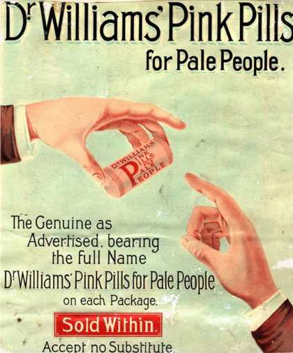 Dr Williams Pin Pills Medical Medicine, UK (1890)