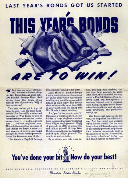 U. S. Government's War Bonds – This Year's Bonds Are To Win (1943)