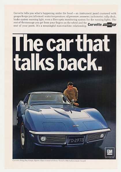 Blue Chevy Corvette Sting Ray Coupe Talks Back (1968)