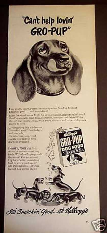 Dog and Puppies Art Gro-pup Dog Food (1949)