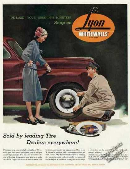 Lyon Whitewalls Sold By Tire Dealers (1947)