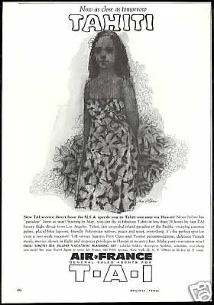 Air France Airlines T A I Tom Allen Tahiti Art (1960)