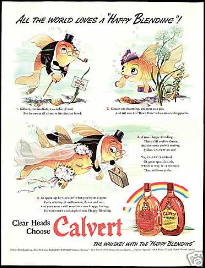 Goldfish Bowl-Mates Wedding Calvert Whisky (1942)