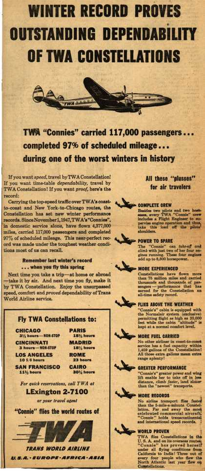 Trans World Airline's Constellations – Winter Record Proves Outstanding Dependability OF TWA Constellations (1948)