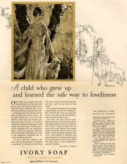 Procter & Gamble Co.'s Ivory Soap – A child who grew up and learned the safe way to loveliness (1927)