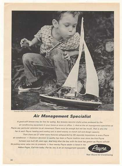 Payne Air Conditioning Boy Blows Sailboat Photo (1963)