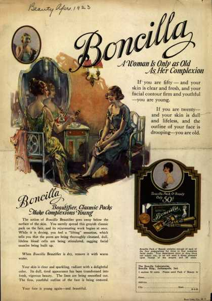 Boncilla Laboratorie's Boncilla Cosmetics – A Woman Is Only as Old As Her Complexion (1923)