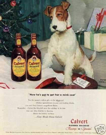 Calvert Whiskey Ad Fox Terrier (1946)