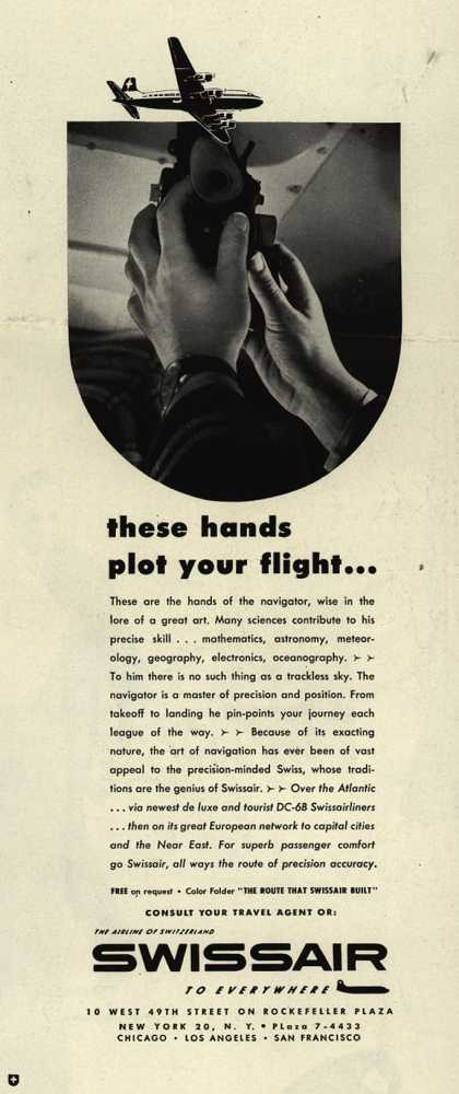 SwissAir's Swissair – These hands plot your flight... (1953)
