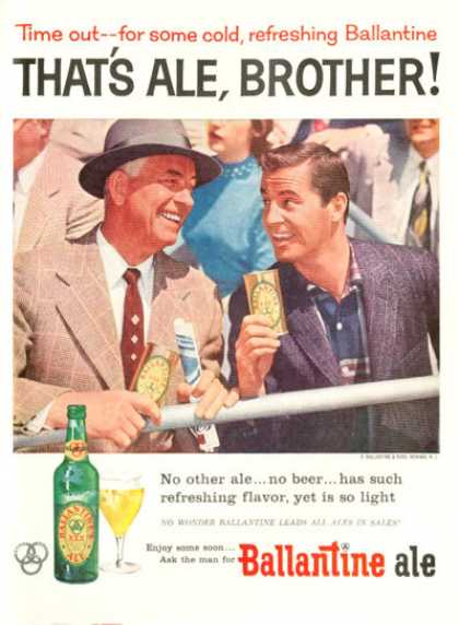 Ballantine Ale Ad Sports Spectators Time Out ... (1956)