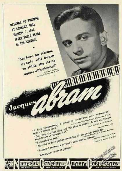 Jacques Abram Photo Piano Booking (1946)