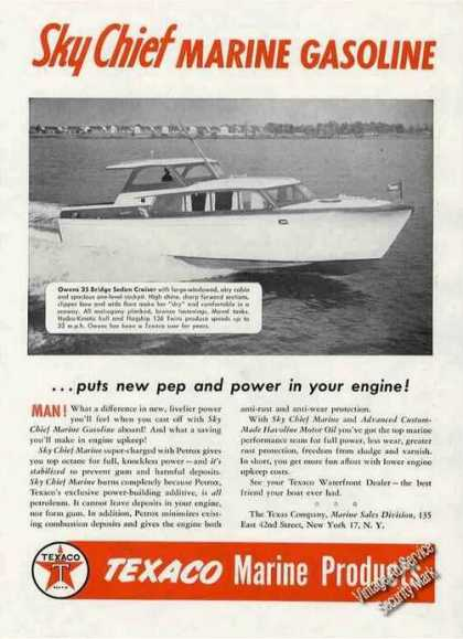 Owens 35 Bridge Sedan Cruiser Texaco Marine Gas (1956)
