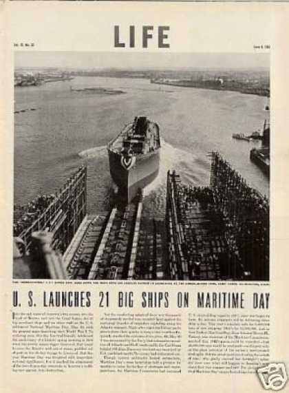 """U.s. Launches 21 Big Ships On Maritime Day"" (1942)"