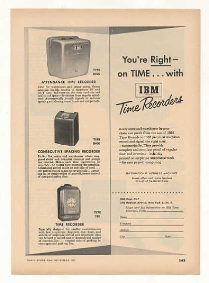 IBM Time Recorders 3 Types (1952)